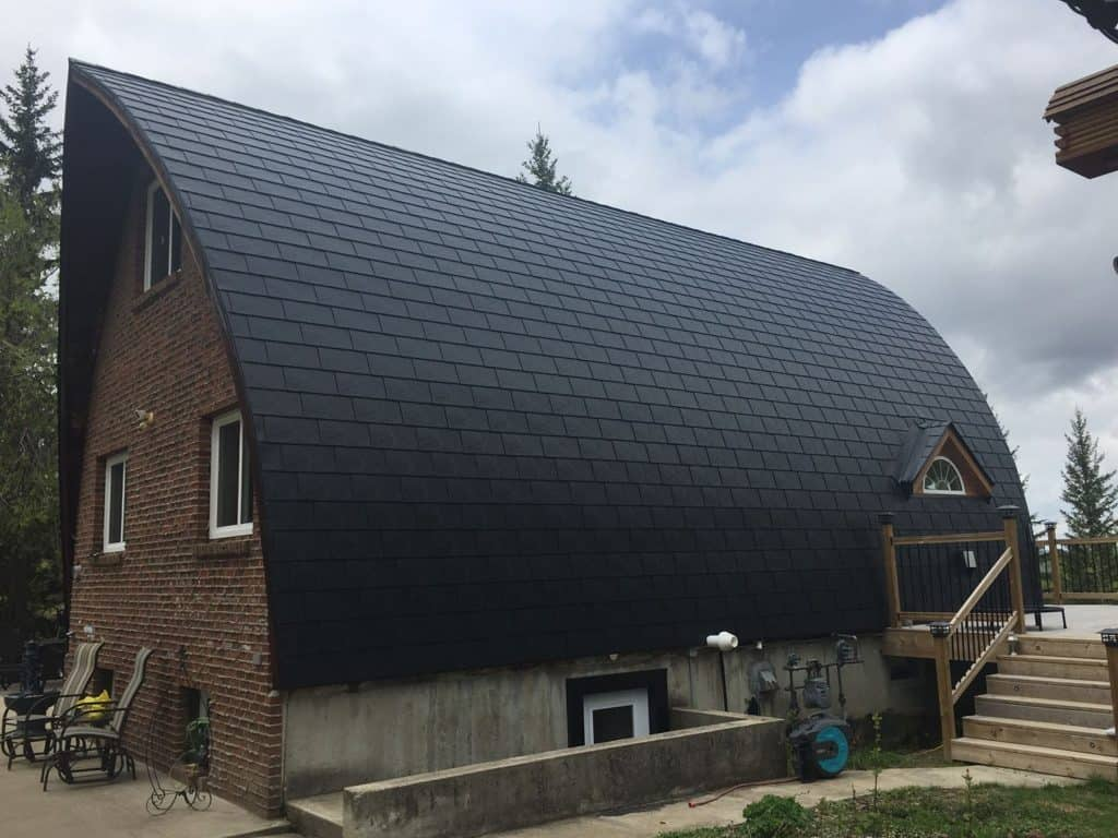 Whitecourt AB Canada Black Slate Interlock Metal Roof Arch Rib