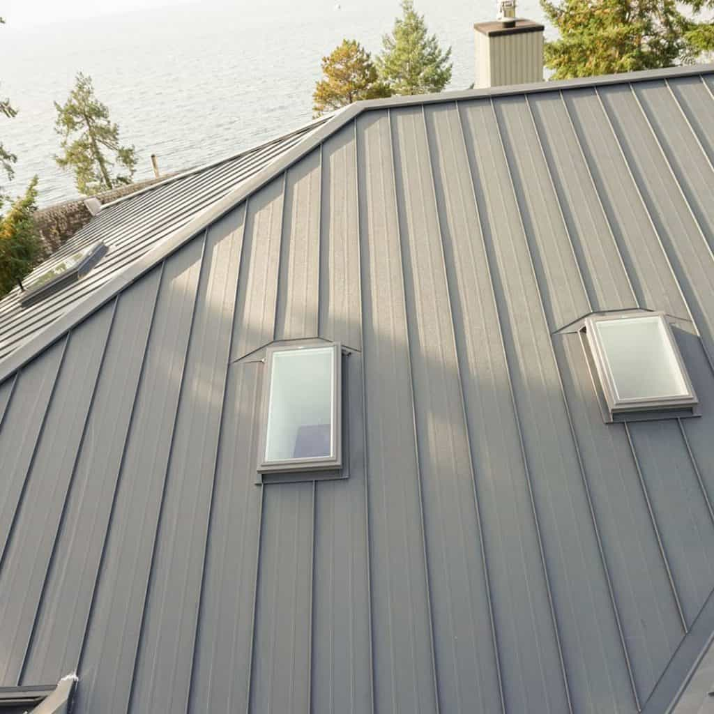 Interlock Standing Seam Roof Deep Charcoal Hip Valley Skylights