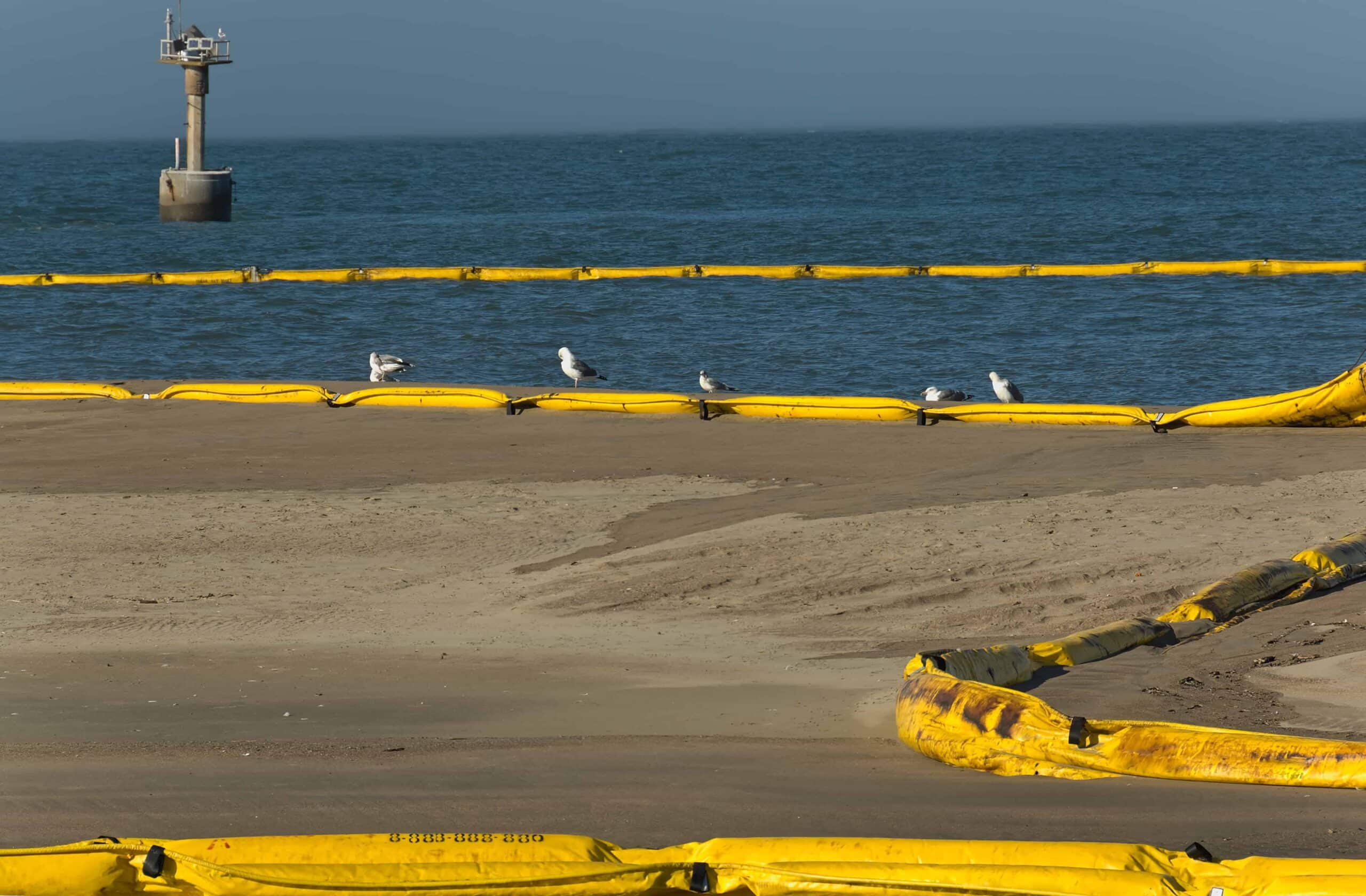 Oil spill at  beach