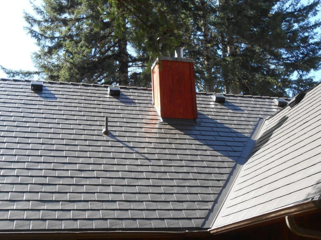 Logsden, OR Interlock Metal Roofing Tudor Brown Slate Roof